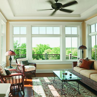 Andersen Windows, sunny room with ceiling fan