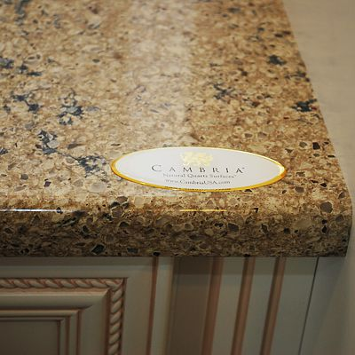 Cambria Argon closeup in Dynasty by Omega Office Cabinets vignette in Warwick, RI