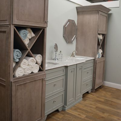 Dynasty vanity vignette at Kitchen Views in Newton, MA