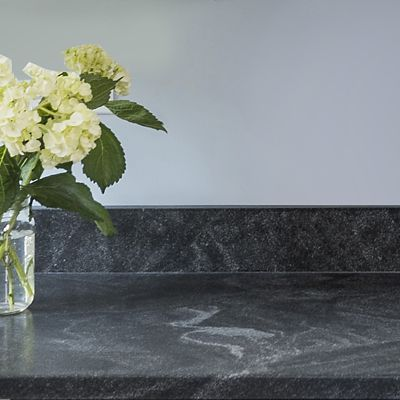 Canton Wet Bar, close up of the Honed Granite countertop, designed by Lisa Zompa