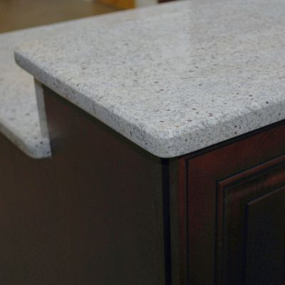 Beveled edge on Kashmir White Granite, Kitchen Views Hudson kitchen vignette in Mansfield, MA