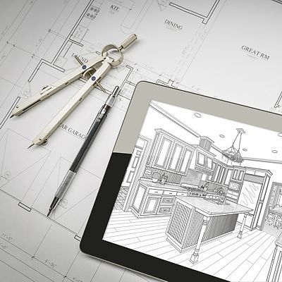 Kitchen design plans, printed and computer tablet showing computer rendering