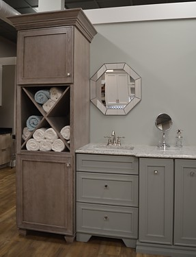 Left sink in Beckwith vanity at Newton, MA showroom