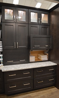 Open storage drawers in Denton office display at Kitchen Views Showroom, Newton, MA