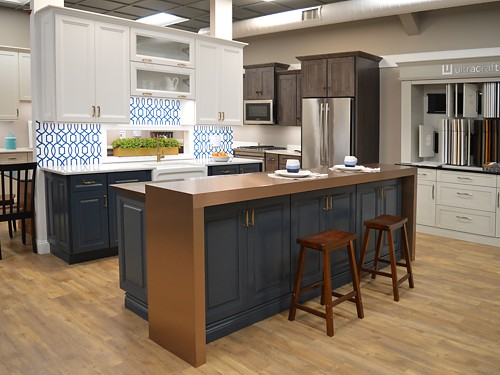 Wide view of Renner kitchen display at Kitchen Views Showroom, Newton, MA