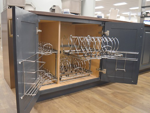 Upper cabinet electric assist opening in Cayhill kitchen display