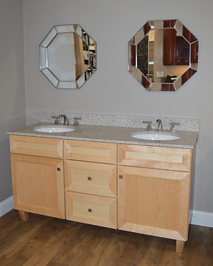 Seaton double vanity display at Kitchen Views Showroom, Newton, MA