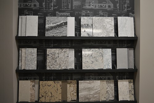 Countertop Stone Samples at Kitchen Views Showroom, Newton, MA