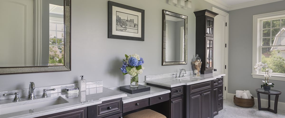 Chestnut Hill, MA master bath double vanity designed by Ed Nunes