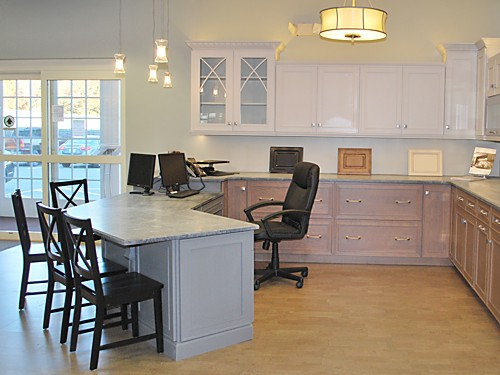 Beckwith desk view #2 at the Kitchen Views showroom in Mansfield MA.