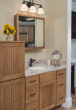 Schrock Trademark bathroom vanity at the Kitchen Views Showroom in Oxford, CT.