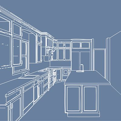 Blueprint plan for Hughes kitchen remodel in Newton, MA