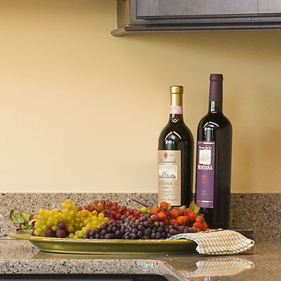 LG Viatera, color Solar Canyon, countertop in Amira kitchen vignette in Oxford, CT