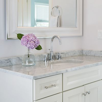 Canton single vanity, closer look at White Carrara Marble countertop, designed by Lisa Zompa