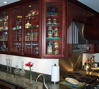 Glass Door Display Cabinets in Kitchen remodel in Newton, MA designed by Jim Marrazzo