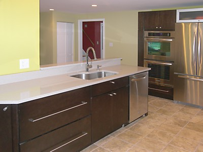 After North Attleboro, MA kitchen remodel designed by Amy Mood, open wall