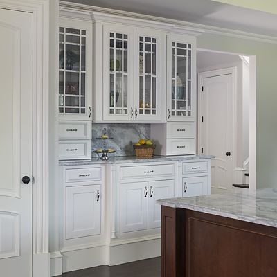Chestnut Hill, MA kitchen designed by Ed Nunes, built-in hutch