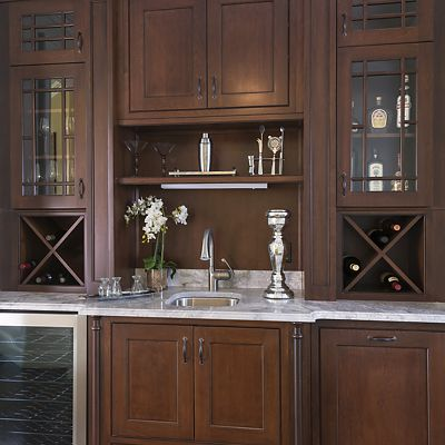 Chestnut Hill, MA kitchen designed by Ed Nunes, Built-in Home Bar close-up