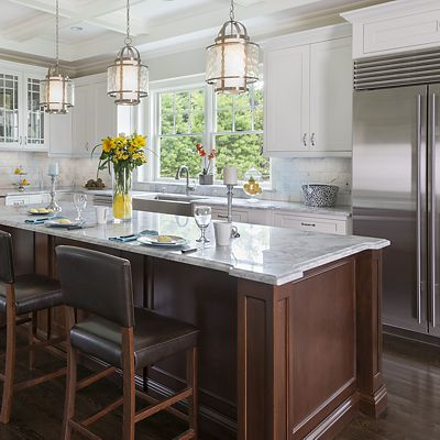 Chestnut Hill, MA kitchen designed by Ed Nunes, Island and Sink