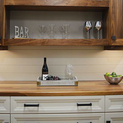 Omega Cabinetry, bar area, vignette at Kitchen Views in Newton, MA