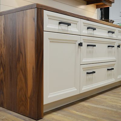 Omega Cabinetry, woodgrain paired with white, vignette at Kitchen Views in Newton, MA