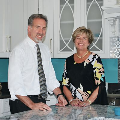 Steven Kaitz and Margie Kaitz, owners of National Lumber, at Kitchen Views showroom in Mansfield, MA