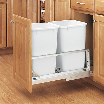 Pull out waste containers double bottom mount by Rev A Shelf