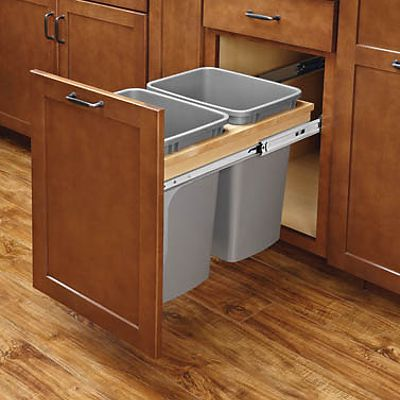 Pull-out waste containers double soft close top mount by Rev-A-Shelf