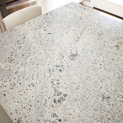Kitchen granite island countertop close-up in South Kingstown, RI designed by Mary Jane Robillard