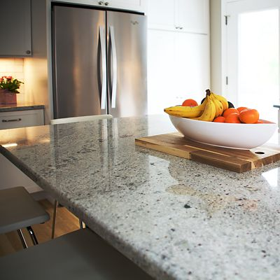 Kitchen island countertop with bowl of fruit in South Kingstown, RI designed by Mary Jane Robillard