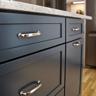 Kitchen island drawer pulls hardware close-up in South Kingstown, RI designed by Mary Jane Robillard