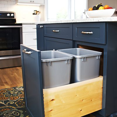 Kitchen island trash pull-out in South Kingstown, RI designed by Mary Jane Robillard