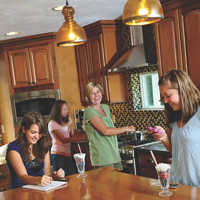 Family activities in newly remodeled Sharon, MA kitchen