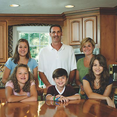 The O'Driscoll family in their new kitchen