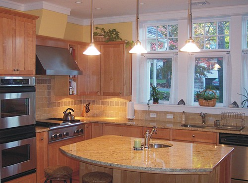 Kitchen designed in Newton, MA with Schrock Cabinets by Bob Russo