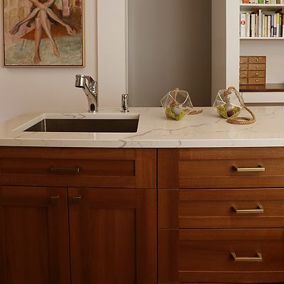 Cambridge, MA Kitchen Designed by Bob Russo – sink in island with storage drawers