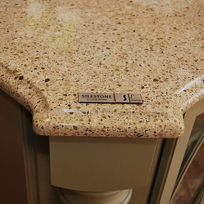 Silestone Bamboo in Schrock Dynasty kitchen vignette in Warwick, RI