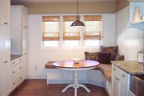 Casual dining area in Fairhaven, MA kitchen designed by Brandy Souza