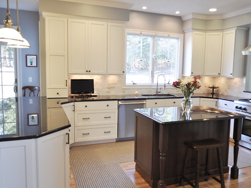 Central view of Foxboro, MA kitchen remodel designed by Jamie Thibeault