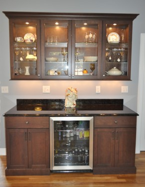 Hutch with display lighting in Foxboro, MA kitchen designed by Jamie Thibeault