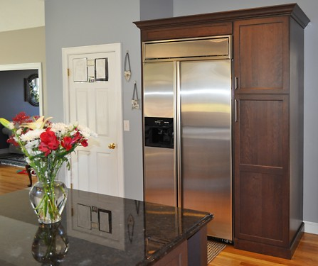 Refrigerator in Foxboro, MA kitchen designed by Jamie Thibeault
