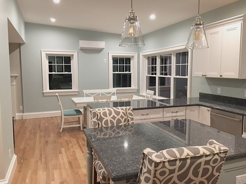 Dining area in Wrentham, MA kitchen designed by Jamie Thibeault