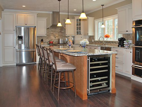 Wide view of Wrentham, MA kitchen designed by Jamie Thibeault
