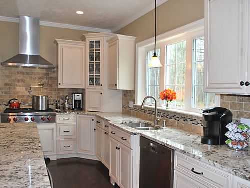 Sink area in Wrentham, MA kitchen designed by Jamie Thibeault