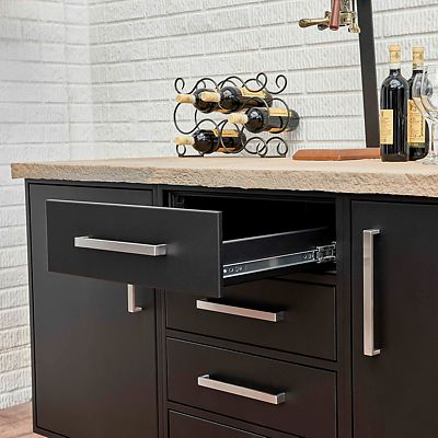 Wolf Endurance outdoor cabinetry black buffet open drawer