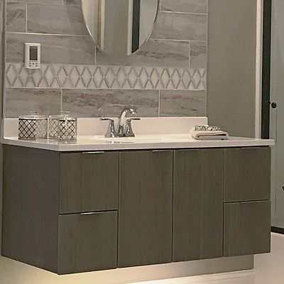 Wolf bathroom vanity, Transition cabinets, Prospect door style in Horizon Thermofoil