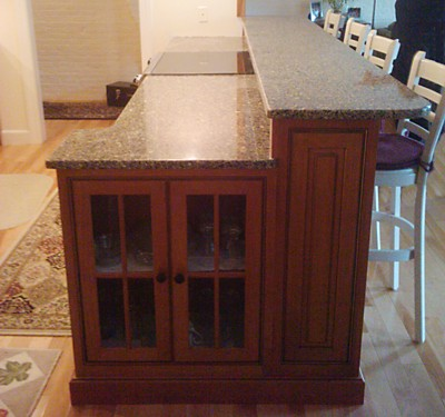 Peninsula End Cabinet in kitchen designed by Lisa Zompa