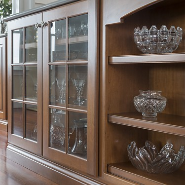 Display cabinets and shelves in Bristol, Rhode Island kitchen