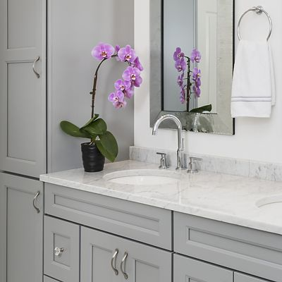 Canton double vanity, closer view, Lisa Zompa designer