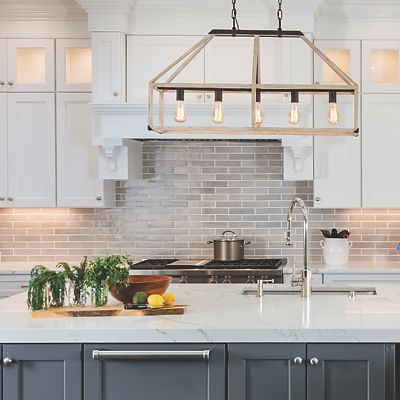 Canton kitchen island with prep area near sink and stove, Lisa Zompa designer